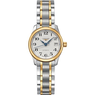 Longines L21285787 Women s Master Collection Automatic Date Two Tone Bracelet Strap Watch  Silver Gold - 7612356167837