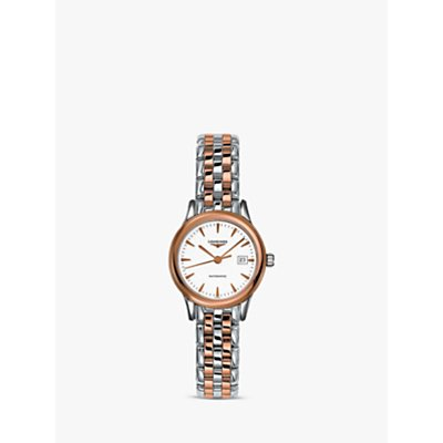 Longines L43743927 Women s Flagship Automatic Date Two Tone Bracelet Strap Watch  Silver Rose Gold - 7612356200053