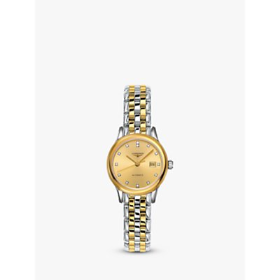 Longines L43743377 Women s Flagship Automatic Diamond Date Two Tone Bracelet Strap Watch  Silver Gold - 7612356199074