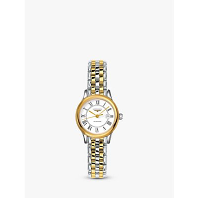 Longines L43743217 Women s Flagship Automatic Date Two Tone Bracelet Strap Watch  Silver Gold - 7612356199043