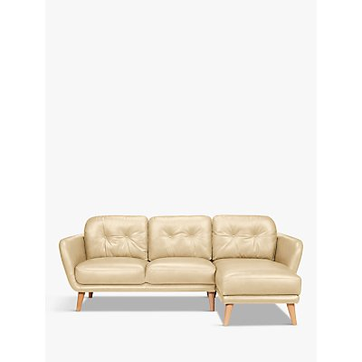 House by John Lewis Arlo RHF Chaise End Leather Sofa, Light Leg