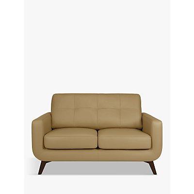 John Lewis & Partners Barbican Small 2 Seater Leather Sofa, Dark Leg