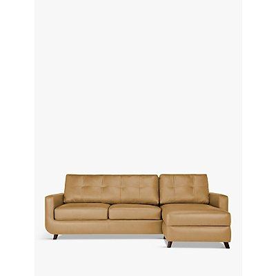 John Lewis & Partners Barbican RHF Chaise End Leather Sofa, Dark Leg