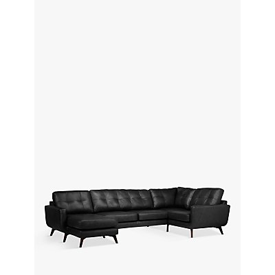 John Lewis & Partners Barbican Leather LHF Medium Corner Chaise End Sofa, Dark Leg