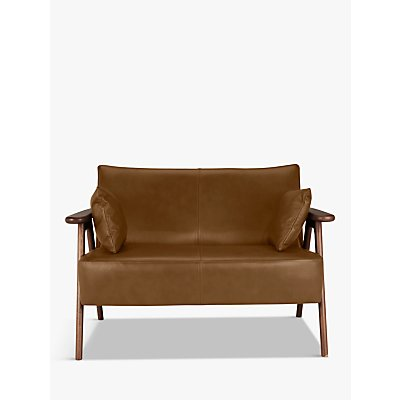 John Lewis Hendricks Leather Loveseat, Dark Wood Frame