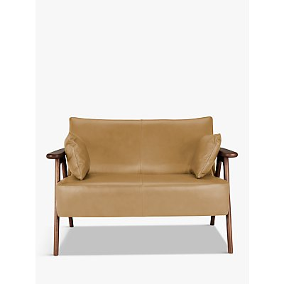 John Lewis & Partners Hendricks Leather Loveseat, Dark Wood Frame