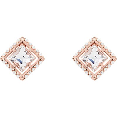 Ted Baker Payge Faux Pearl Frame Swarovski Crystal Square Stud Earrings - 5055336364345