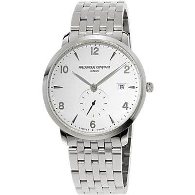 Fr  d  rique Constant FC 245SA5S6B Men s Slimline Date Bracelet Strap Watch  Silver White - 7688200260917