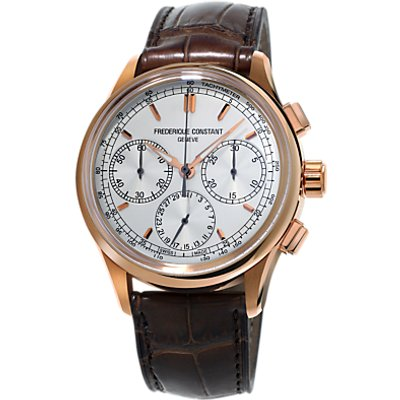 Fr  d  rique Constant FC 760V4H4 Men s Flyback Chronograph Automatic Alligator Leather Strap Watch  Brown White - 7688200272231