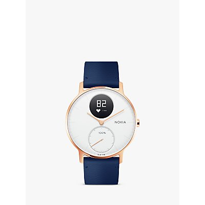 Withings / Nokia Steel HR Activity Tracking Watch, 36mm, Rose Gold/Blue Leather