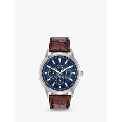 Citizen BU2070 12L Men s Eco Drive Chronograph Leather Strap Watch  Brown Blue - 4974374274045