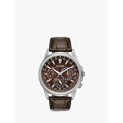 Citizen BU2020 29X Men s Eco Drive Chronograph World Time Leather Strap Watch  Brown - 4974374276452