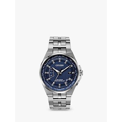 Citizen CB0160 51L Men s Eco Drive World Perpetual A T Date Bracelet Strap Watch  Silver Blue - 4974374274120