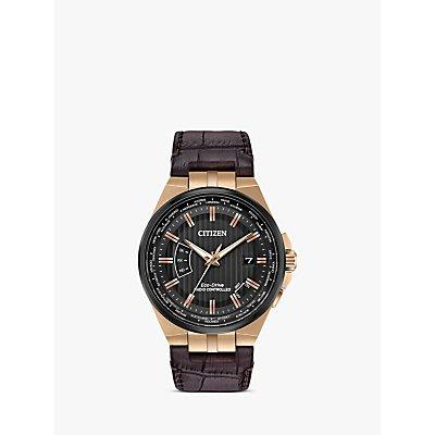 Citizen CB0168 08E Men s Eco Drive World Perpetual A T Date Leather Strap Watch  Brown Black - 4974374274144