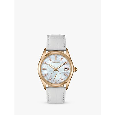 Citizen EV1033 08D Women s Corso Eco Drive Date Leather Strap Watch  White Mother of Pearl - 4974374272751