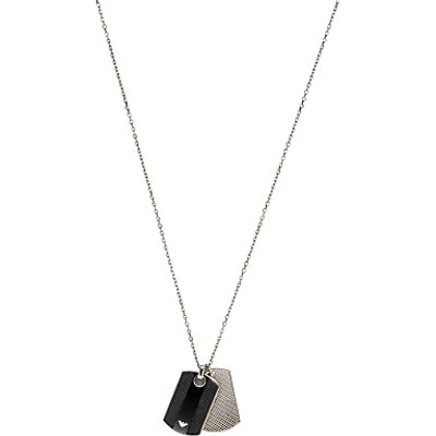 Emporio Armani Men s Double Tag Pendant  Silver Black - 4051432500817
