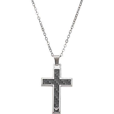 Emporio Armani Men s Cross Necklace  Black Silver - 4051432895227