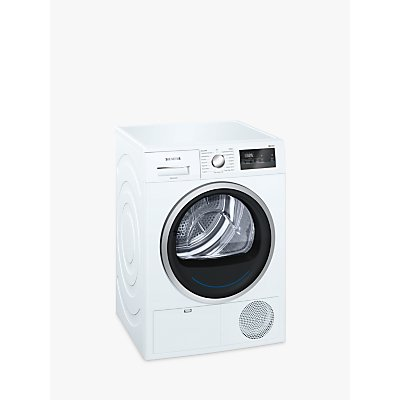 Siemens WT45N201GB Condenser Tumble Dryer, 8kg Load, B Energy Rating, White