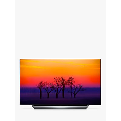LG OLED55C8PLA OLED HDR 4K Ultra HD Smart TV, 55 with Freeview Play/Freesat HD, Dolby Atmos & Streamlined Alpine Stand, Ultra HD Certified, Black & Silver