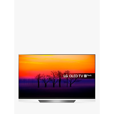 LG OLED55E8PLA OLED HDR 4K Ultra HD Smart TV, 55 with Freeview Play/Freesat HD, Picture-On-Glass Design & Dolby Atmos, Ultra HD Certified, Black