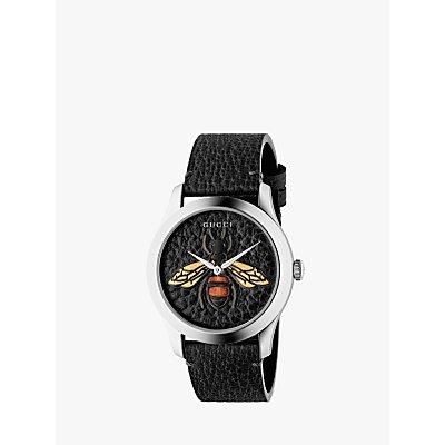 Gucci YA1264067 Unisex G Timeless Leather Strap Watch  Black - 0731903444508