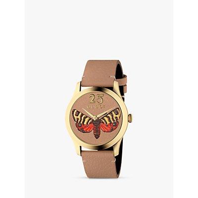 Gucci YA1264063 Women s G Timeless Leather Strap Watch  Tan - 731903444485