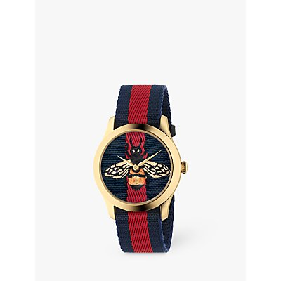 Gucci YA1264061A Unisex G Timeless Fabric Strap Watch  Blue Red - 731903444553