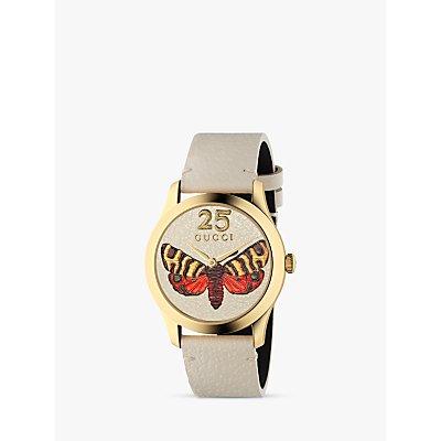 Gucci YA1264062A Women s G Timeless Leather Strap Watch  White - 731903444478