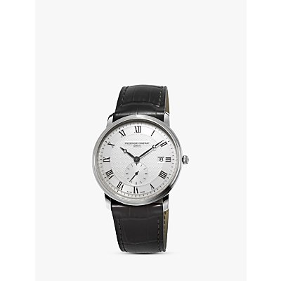 Fr  d  rique Constant FC 245M5S6 Men s Slimline Date Leather Strap Watch  Black White - 7688200234390