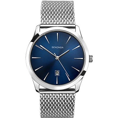 Sekonda 1065 27 Men s Date Bracelet Strap Watch  Silver Blue - 5051322010654