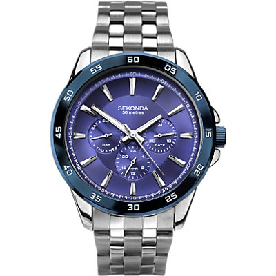 Sekonda 1391 27 Men s Chronograph Bracelet Strap Watch  Silver Blue - 5051322013914