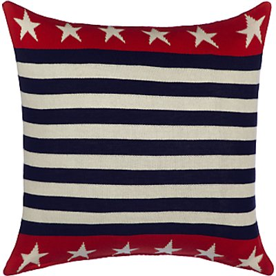 little home at John Lewis Stars Knitted Cushion  Red Blue - 24781862