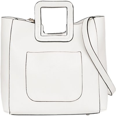 French Connection Square Handle Tote Bag, White