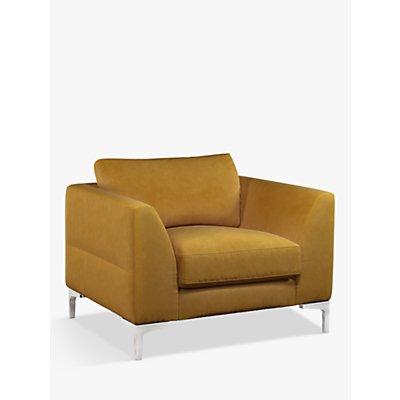 John Lewis & Partners Belgrave Velvet Armchair, Metal Leg, Aquaclean Harriet Mustard