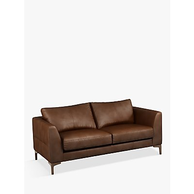 John Lewis & Partners Belgrave Medium 2 Seater Leather Sofa, Dark Leg