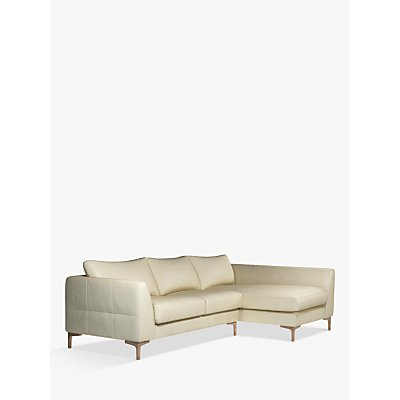 John Lewis & Partners Belgrave RHF Chaise End Leather Sofa, Dark Leg