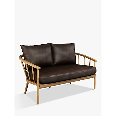John Lewis Frome Leather Loveseat, Light Leg