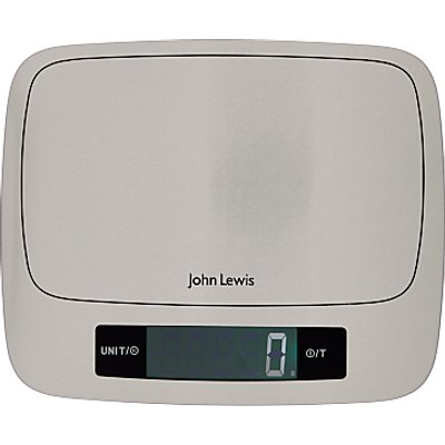 John Lewis   Partners Large Stainless Steel Digital Kitchen Scale  15kg - 24801539