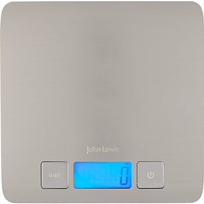 John Lewis   Partners Slim Stainless Steel Digital Kitchen Scales  5kg - 24801522