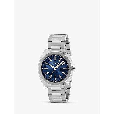 Gucci YA142303 Men s GG2570 Date Bracelet Strap Watch  Silver Navy - 0731903382398