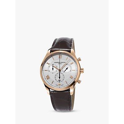 Fr  d  rique Constant FC 292MV5B4 Men s Classics Chronograph Date Leather Strap Watch  Dark Brown Silver - 7688200301061