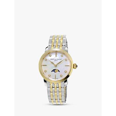 Fr  d  rique Constant FC 206MPWD1S3B Women s Moonphase Diamond Two Tone Bracelet Strap Watch  Silver Gold - 7688200300798