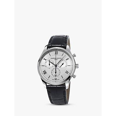 Fr  d  rique Constant FC 292MS5B6 Men s Classics Chronograph Date Leather Strap Watch  Black Silver - 7688200301085