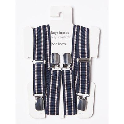 John Lewis & Partners Boys' Stripe Braces, Navy