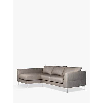 John Lewis & Partners Belgrave LHF Chaise End Leather Sofa, Metal Leg