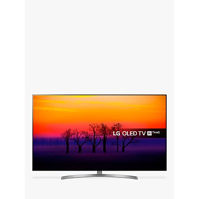 LG OLED65B8SLC OLED HDR 4K Ultra HD Smart TV, 65 with Freeview Play/Freesat HD, Dolby Atmos, Picture-On-Metal Design & Crescent Stand, Ultra HD Certified, Black & Silver