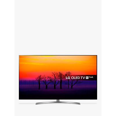 LG OLED55B8SLC OLED HDR 4K Ultra HD Smart TV, 55 with Freeview Play/Freesat HD, Dolby Atmos, Picture-On-Metal Design & Crescent Stand, Ultra HD Certified, Black & Silver