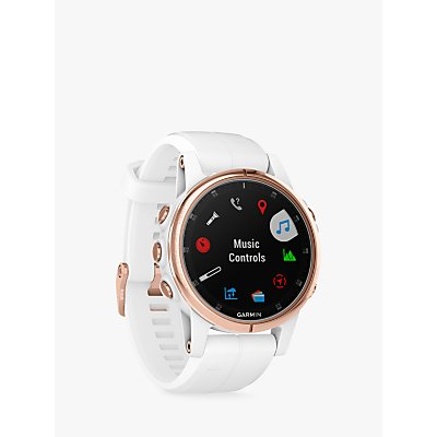 Garmin fēnix 5S Plus Sapphire GPS Multisport Watch, Rose Gold with White / Rose Gold Band, 4.2cm