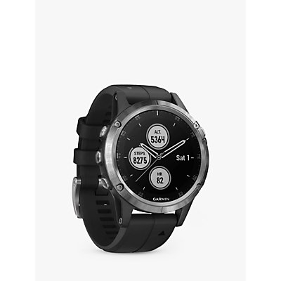 Garmin fēnix 5 Plus GPS Multisport Watch, Silver with Black Band, 4.7cm