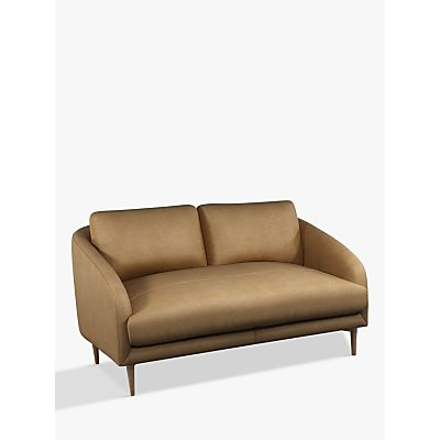 John Lewis & Partners Cape Small 2 Seater Leather Sofa, Dark Leg